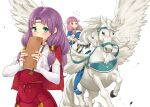2girls bangs belt boots cosplay costume_switch detached_sleeves fire_emblem fire_emblem:_the_blazing_blade fire_emblem_fates florina_(fire_emblem) highres hime_cut igni_tion mitama_(fire_emblem) multiple_girls pegasus_knight pink_hair purple_hair star-shaped_pupils star_(symbol) symbol-shaped_pupils white_background