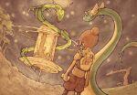 1girl backpack bag brown_hair brown_shorts cellphone claws commentary_request dragon dragonair eastern_dragon gen_1_pokemon gen_3_pokemon glowing glowing_eyes grey_shirt hair_bun highres holding holding_phone jirachi legendary_pokemon miyagi_prefecture mythical_pokemon outdoors phone pokemon pokemon_(creature) rayquaza shirt short_hair short_sleeves shorts tree usuisoto_(mouse4949) white_bag yellow_eyes