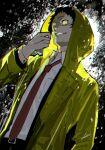 1boy adachi_tooru black_hair black_jacket btmr_game from_below grin highres hood hood_up jacket long_sleeves looking_at_viewer male_focus necktie persona persona_4 raincoat red_neckwear shirt signature smile solo spoilers white_shirt yellow_eyes yellow_raincoat