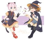 alternate_costume animal_ears bag black_cape black_dress black_footwear black_headwear black_legwear boots brown_hair cape cat_ears cat_tail dated dress fake_animal_ears frilled_dress frills fubuki_(kancolle) full_body ghost green_eyes hat hiroe_(cosmos_blue-02_421) jack-o'-lantern kantai_collection long_hair looking_at_viewer low_ponytail messenger_bag one_eye_closed overalls ponytail red_footwear shiranui_(kancolle) shirt short_ponytail short_sleeves shoulder_bag sidelocks signature smile tail thigh-highs two-tone_dress wand white_shirt witch_hat