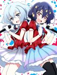 2girls black_hair black_legwear blue_eyes commentary_request gloves highres holding holding_microphone konno_junko light_blue_hair looking_at_viewer low_twintails microphone mizuno_ai multiple_girls music open_mouth puffy_short_sleeves puffy_sleeves red_eyes run_p_(aveton) short_eyebrows short_hair short_sleeves singing thigh-highs twintails white_gloves zombie_land_saga