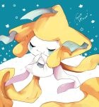 absurdres banchiku closed_eyes closed_mouth commentary_request gen_3_pokemon green_background grey_ribbon hands_together hands_up highres interlocked_fingers jirachi mythical_pokemon no_humans pokemon pokemon_(creature) smile solo star_(symbol)