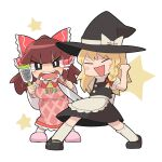 2girls apron bangs black_eyes black_footwear black_headwear black_skirt black_vest blonde_hair blunt_bangs blush_stickers bow braid breasts brown_hair closed_eyes commentary_request cookie_(touhou) crying crying_with_eyes_open detached_sleeves eyebrows_visible_through_hair frilled_bow frills full_body grater hair_bow hakurei_reimu hat hat_bow holding holding_knife kasugai_(nicoseiga12232888) kirisame_marisa knife long_hair looking_at_viewer mary_janes medium_breasts multiple_girls necktie open_mouth pink_apron pink_footwear red_bow red_shirt rurima_(cookie) shirt shoes side_braid single_braid skirt socks standing star_(symbol) suzu_(cookie) tears touhou vest waist_apron white_background white_bow white_legwear white_shirt white_sleeves witch_hat yellow_neckwear