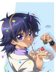 2boys absurdres bangs blue-eyes_white_dragon cake cake_slice character_doll commentary_request confetti dated eating eyebrows_visible_through_hair food food_on_face fork grey_jacket hair_between_eyes hands_up happy_birthday highres holding holding_fork holding_plate jacket kaiba_mokuba kuriboh long_hair long_sleeves looking_back male_focus multiple_boys plate purple_hair purple_shirt shirt udzuki_(tanachi381) upper_body violet_eyes yami_yuugi yu-gi-oh! yu-gi-oh!_duel_monsters