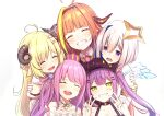 5girls ahoge amane_kanata angel_wings armband blonde_hair candy_hair_ornament closed_eyes crown double_v dragon_horns ear_piercing earrings food-themed_hair_ornament grin hair_ornament hairclip halo hand_on_another's_shoulder hat highres himemori_luna hololive horns jewelry kiryu_coco long_hair multiple_girls orange_hair piercing pikao pink_hair pointy_ears purple_hair sheep_horns silver_hair smile tokoyami_towa tsunomaki_watame twintails v virtual_youtuber white_background wings