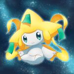 closed_mouth commentary_request full_body gen_3_pokemon glowing grey_eyes jirachi looking_at_viewer mythical_pokemon no_humans outdoors outline pokemon pokemon_(creature) ratemich ribbon smile solo space sparkle