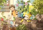 1boy backpack bag brown_bag brown_hair bubble chimecho commentary_request faucet flower_pot gen_1_pokemon gen_3_pokemon gen_5_pokemon green_shorts holding in_pot jirachi leaf male_focus matsuri_(matsuike) mythical_pokemon open_mouth pidove plant pokemon pokemon_(creature) poliwag potted_plant shirt short_hair short_sleeves shorts smile squirtle standing stone_wall t-shirt themed_object upper_teeth wall watering_can