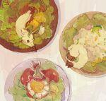 bowl broccoli brown_eyes cauliflower flapple from_above gen_4_pokemon gen_5_pokemon gen_8_pokemon leafeon lettuce no_humans one_eye_closed paws pokemon pokemon_(creature) salad sitting stretch toes whimsicott yurano_(upao)