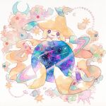crescent gen_3_pokemon green_ribbon hands_up head_tilt jirachi looking_at_viewer mythical_pokemon no_humans oharu-chan open_mouth orb pokemon pokemon_(creature) ribbon smile solo star_(symbol) symbol_commentary traditional_media watercolor_(medium)