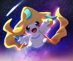 :d blush comet commentary_request dagashi_(daga2626) full_body gen_3_pokemon happy highres jirachi looking_at_viewer mythical_pokemon no_humans open_mouth outdoors outstretched_arms pokemon pokemon_(creature) sky smile space star_(sky) tongue