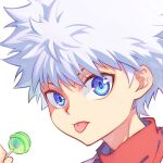 1boy bangs blue_eyes candy commentary_request dated_commentary food hair_between_eyes holding holding_candy holding_food holding_lollipop hunter_x_hunter kariki_hajime killua_zoldyck lollipop looking_at_viewer male_focus messy_hair portrait simple_background solo spiky_hair tongue tongue_out white_background white_hair