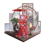 2girls absurdres alternate_costume bangs blue_hair blush bonsai breasts chinese_clothes closed_mouth commentary_request dress fan flower full_body ganyu_(genshin_impact) genshin_impact goat_horns hair_cones hair_flower hair_ornament highres holding holding_fan holding_umbrella horns keqing_(genshin_impact) lantern large_breasts long_dress long_hair long_sleeves looking_at_viewer luckin317 medium_breasts multiple_girls nail_polish oil-paper_umbrella own_hands_together parted_lips print_dress purple_hair red_dress red_nails see-through sitting smile standing twintails umbrella very_long_hair violet_eyes wooden_floor