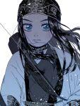 1girl ainu_clothes asirpa bandana bangs belt black_hair blue_eyes choker earrings floating_hair golden_kamuy highres hoop_earrings jewelry long_hair looking_at_viewer quuuur_gk