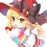 1girl apron bangs black_bow blonde_hair bow cube dress eyebrows_visible_through_hair hair_between_eyes hair_bow hat hat_bow highres holding jill_07km kirisame_marisa long_hair looking_at_viewer multicolored_hair open_mouth puffy_short_sleeves puffy_sleeves red_bow red_dress red_headwear short_sleeves simple_background solo standing star_(symbol) touhou white_apron white_background white_bow white_sleeves witch_hat wrist_cuffs yellow_eyes