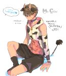 1boy animal_costume animal_ears animal_print bangs bare_shoulders bilingual black_footwear black_hairband black_shorts boots brown_hair collar commentary covered_eyes cow_costume cow_ears cow_print cow_tail detached_sleeves doki_doki_literature_club fake_animal_ears fake_horns hair_over_eyes hairband hood hood_down hoodie horns male_focus print_hoodie print_sleeves protagonist_(doki_doki_literature_club) shorts simple_background sitting solo sora_(efr) sweatdrop tail translation_request white_background