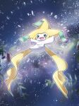 :d absurdres blurry blush commentary_request gen_3_pokemon green_eyes green_ribbon highres jirachi mythical_pokemon nako_(nekono_shippo75) night no_humans open_mouth outdoors outstretched_arms pokemon pokemon_(creature) ribbon sky smile solo star_(sky) tongue