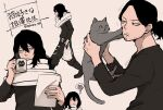 1boy aizawa_shouta animal animal_print bag bangs black_hair black_shirt boku_no_hero_academia cat cat_print commentary_request facial_hair full_body grey_scarf hands_up highres holding holding_animal holding_bag holding_cat holding_paper long_hair long_sleeves looking_at_animal male_focus multiple_views nakamu_405 notice_lines paper parted_bangs reading scar scar_on_face scarf shirt simple_background steam stubble thought_bubble translation_request twitter_username upper_body