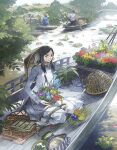 1girl 2others bag bangs basket black_hair boat breasts closed_mouth commentary_request dress flower food fruit grey_hair hat holding holding_pot leaf long_hair looking_at_viewer mat messenger_bag multiple_others original parted_bangs plant pot potted_plant river seiza shoulder_bag sitting small_breasts vietnamese_dress water watercraft white_dress yumeko_(yumeyana_g)
