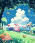 absurdres blue_eyes blue_sky blush_stickers bouncy_(kirby) bug bush butterfly cattail chuchu_(kirby) clouds clover como_(kirby) floaty_the_cell_core_(kirby) flower foley_(kirby) four-leaf_clover gooey grass highres insect island kirby kirby_(series) kracko leaf ocean palm_tree plant scarfy sky smile suyasuyabi tree ufo_(kirby) waddle_dee wall-eyed