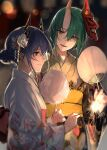 2girls absurdres arknights blue_hair blurry bokeh ch'en_(arknights) commentary cotton_candy depth_of_field dragon_horns fan flower food from_side green_hair hair_bun hair_flower hair_ornament highres holding holding_fan holding_food holding_sparkler horns hoshiguma_(arknights) japanese_clothes kimono long_hair looking_at_another lyas multiple_girls obi oni_mask red_eyes red_sash sash short_hair_with_long_locks single_horn smile symbol_commentary upper_body white_flower white_kimono yellow_eyes yellow_kimono yellow_sash