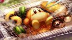 blush_stickers brown_eyes corn fire grill kirby_(series) lying mushroom on_back peppers peril shiburingaru smoke steam sweat tongs waddle_dee