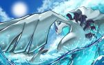 closed_mouth clouds commentary_request day from_below gen_2_pokemon legendary_pokemon lugia mujiao no_humans outdoors pokemon pokemon_(creature) red_eyes sky solo sun water water_drop