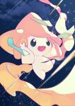 :d arms_up blue_eyes clouds commentary_request gen_3_pokemon happy highres jirachi mythical_pokemon night no_humans open_mouth outdoors pokemon pokemon_(creature) shiramizore_(rate1026) sky smile solo star_(sky) tanabata tongue