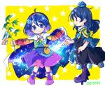 2girls :3 ahoge armor bag bangs blue_dress blue_eyes blue_headwear blush boots border bow branch cape chibi closed_mouth dark_blue_hair dated dress footwear_bow from_side full_body geta hairband hat holding holding_branch holding_plant iizunamaru_megumu long_hair long_sleeves looking_at_another looking_at_viewer medium_hair multicolored multicolored_clothes multicolored_dress multicolored_hairband multiple_girls outstretched_arms pointing pom_pom_(clothes) pote_(ptkan) profile purple_footwear purple_hair rainbow_gradient red_eyes short_hair shoulder_armor simple_background smile sparkle standing starry_background starry_sky_print symbol_commentary tanabata tengu-geta tenkyuu_chimata tokin_hat touhou violet_eyes white_border white_bow white_cape yellow_background