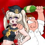 1boy 1girl :3 absurdres anchor_hat_ornament azur_lane bache_(azur_lane) bangs black_shirt blonde_hair blush bottle breasts brown_hair choker collared_shirt commentary_request crop_top crossover eyebrows_visible_through_hair family_guy fat fat_man glasses great_gonzales hair_between_eyes hand_on_another's_shoulder hat highres holding holding_bottle long_hair looking_at_another medium_breasts open_mouth peter_griffin round_eyewear sailor_collar sailor_hat shirt sweat sweating_profusely two_side_up upper_body violet_eyes white_shirt