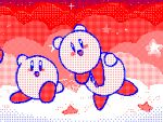 :d animated commentary dancing english_commentary flipnote_studio_(medium) french_commentary keke_(kokorokeke) kirby kirby's_dream_land kirby_(series) looping_animation lowres mixed-language_commentary no_humans open_mouth smile