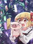 1girl :d ^_^ animal bangs black_vest blonde_hair bow closed_eyes hair_bow highres holding holding_animal long_sleeves open_mouth outdoors pig plant red_bow red_eyes rokugou_daisuke rumia short_hair signature sky smile star_(sky) starry_sky tanabata touhou touhou_cannonball upper_body vest