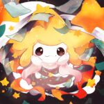 absurdres arms_up banchiku brown_eyes closed_mouth commentary_request full_body gen_3_pokemon green_ribbon highres incoming_hug jirachi looking_at_viewer mythical_pokemon no_humans pokemon pokemon_(creature) ribbon smile solo star_(symbol)