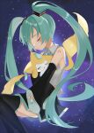 1girl arm_tattoo bangs black_footwear blush boots closed_eyes closed_mouth collared_shirt crossover detached_sleeves eyelashes from_side gen_3_pokemon green_hair grey_shirt hatsune_miku highres jirachi long_hair mythical_pokemon number pokemon pokemon_(creature) reirou_(chokoonnpu) shiny shiny_hair shirt sleeveless sleeveless_shirt smile space symbol_commentary tattoo thigh-highs thigh_boots tied_hair twintails vocaloid