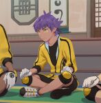 1boy 2others bangs black_shirt black_shorts clenched_hands closed_mouth commentary_request dark-skinned_male dark_skin gloves indoors jacket knee_pads leon_(pokemon) male_focus master_dojo_uniform multiple_others pokemon pokemon_(game) pokemon_swsh purple_hair shirt shoes short_hair shorts sitting sleeves_past_elbows solo_focus stairs yellow_eyes yellow_jacket younger zukki_(suzukio)