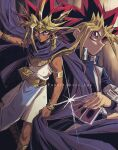 2boys atem bangs black_hair blonde_hair blue_jacket bracelet bright_pupils card clenched_hand cloak closed_mouth commentary_request dark-skinned_male dark_skin dirty duel_disk ear_clip earrings egyptian highres holding holding_card jacket jewelry knees male_focus millennium_puzzle multiple_boys mutou_yuugi necklace outstretched_arm purple_hair school_uniform soya_(sys_ygo) spiky_hair twitter_username violet_eyes white_pupils yu-gi-oh! yu-gi-oh!_duel_monsters