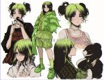 1girl artist_name bangs billie_eilish black_hair choker clothes_writing commentary criis-chan danganronpa:_trigger_happy_havoc danganronpa_(series) double_bun english_commentary fingernails from_side green_footwear green_hair green_legwear green_nails grey_eyes hair_bun hair_over_one_eye hands_in_pockets holding holding_microphone jacket jewelry kneehighs long_hair long_sleeves looking_at_viewer microphone monokuma multicolored multicolored_clothes multicolored_hair multicolored_jacket multiple_views nail_polish necklace parted_bangs pink_tank_top real_life ring sharp_fingernails shirt shorts simple_background smile striped tank_top twitter_username two-tone_hair