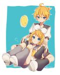 1boy 1girl ahoge ascot bare_shoulders blonde_hair blue_eyes blush bow brother_and_sister collarbone detached_sleeves eyebrows_visible_through_hair hair_bow hair_ornament hairclip half-closed_eyes highres kagamine_len kagamine_rin knees_up leg_warmers looking_at_another looking_down looking_up o3o on_person puckered_lips sailor_collar shirt short_ponytail shorts siblings signature sitting sleeveless sleeveless_shirt tono_kabeuchi tsurime twins twitter_username vocaloid white_bow yellow_neckwear