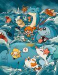 1girl :d ? artist_name chibi english_commentary finneon gen_1_pokemon gen_2_pokemon gen_3_pokemon gen_4_pokemon gen_7_pokemon goldeen gyarados highres lapras luvdisc magikarp mantyke misty_(pokemon) ocean open_mouth orange_hair pointing pokemon pokemon_(anime) pokemon_(classic_anime) pokemon_(creature) primarina psyduck rain remoraid running sharpedo shellder smile spoken_question_mark staryu teletelo wailord water