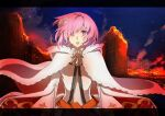 1girl alternate_costume artist_request ashes cape cloak commentary crying crying_with_eyes_open destruction dress embers eyebrows_visible_through_hair fate/grand_order fate_(series) fire floating_hair flower hair_flower hair_ornament hair_over_one_eye highres hood hood_down hooded_cloak long_sleeves looking_at_viewer mash_kyrielight night night_sky official_alternate_costume open_mouth outdoors pink_eyes pink_flower pink_hair sad short_hair sky solo tears white_cloak white_dress wide_sleeves