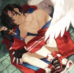 1boy angel_wings bare_legs black_gloves black_hair blue_coat brown_eyes closed_mouth coat collarbone commentary_request cross fingerless_gloves gloves high_tops kyouichi looking_at_viewer lying male_focus off_shoulder on_floor on_side original red_coat red_footwear red_shorts shade shirtless short_hair shorts smile solo tile_floor tiles two-sided_coat white_footwear wings