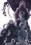1girl chair crown danganronpa_(series) danganronpa_v3:_killing_harmony dress expressionless eyeegg glasses hand_on_own_cheek hand_on_own_face high_heels highres horror_(theme) jewelry long_hair looking_at_viewer necklace shirogane_tsumugi skull throne violet_eyes white_background