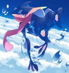 bright_pupils commentary_request gen_6_pokemon greninja ippuku looking_at_viewer no_humans pokemon pokemon_(creature) solo toes tongue_scarf violet_eyes water water_drop white_pupils