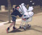 1boy black_footwear black_hair black_hoodie blurry blurry_background dark-skinned_male dark_skin duraludon gen_8_pokemon gloves gym_leader holding hood hood_down hoodie male_focus mikripkm night orange_headwear outdoors photo-referenced photo_background pokemon pokemon_(creature) pokemon_(game) pokemon_swsh raihan_(pokemon) shadow shoes shopping_cart short_hair shorts standing undercut white_wristband