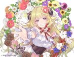 1girl ahoge album_cover animal_ears bangs bare_shoulders black_corset blonde_hair blue_eyes blush cherico company_name corset cover dress eyebrows_visible_through_hair flower food fruit grapes hair_ornament harp highres hololive horns instrument long_hair looking_at_viewer musical_note neck_ribbon purple_flower reaching_out red_flower ribbon sheep_ears sheep_girl sheep_horns smile solo staff_(music) strawberry tsunomaki_watame very_long_hair wrist_cuffs yellow_flower