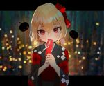 1girl abstract_background alternate_costume bangs blonde_hair blurry blurry_background blush closed_mouth commentary_request covering_mouth darkness eyebrows_visible_through_hair floral_print flower hair_between_eyes hair_bobbles hair_flower hair_ornament hair_ribbon head_tilt holding japanese_clothes kimono letterboxed light_smile long_sleeves looking_at_viewer low_twintails obi outside_border poppy_(flower) red_eyes red_flower red_ribbon ribbon rumia sash short_hair short_twintails sleeves_past_wrists solarisu solo tanzaku touhou twintails upper_body white_flower wide_sleeves yukata