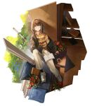 1girl absurdres arknights book bookshelf brown_eyes brown_hair casual coffee couch flower_pot from_above highres magallan_(arknights) open_book pants shoes smile sneakers window xiaomai_yorik