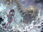 1girl artist_name clouds cloudy_sky colored_skin dated e_volution elephant fish_girl from_behind full_body holding jewelry long_hair mipha monster_girl no_humans ocean outdoors polearm rain red_skin sky solo standing sword the_legend_of_zelda the_legend_of_zelda:_breath_of_the_wild vah_ruta water weapon zora
