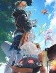 1boy aqua_eyes black_hair black_hoodie blue_shorts campfire clouds commentary_request day earrings fiz_breakfast flygon from_below gen_3_pokemon gen_4_pokemon gen_6_pokemon goodra gym_leader highres holding hood hoodie jewelry leon_(pokemon) male_focus orange_headwear outdoors pokemon pokemon_(creature) pokemon_(game) pokemon_swsh pot raihan_(pokemon) rotom rotom_phone short_hair shorts side_slit side_slit_shorts sky smile smoke torkoal undercut