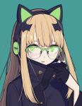 1girl bangs black_gloves black_headphones black_jacket blue_background cat_ear_headphones commentary english_commentary girls_frontline glasses gloves green_eyes half_gloves headphones high_collar highres jacket long_hair looking_at_viewer orange_hair papaia_(quentingqoo) semi-rimless_eyewear sidelocks simple_background solo tmp_(girls_frontline) visible_air