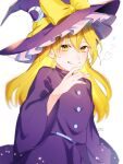 1girl artist_name bangs blonde_hair bow buttons crescent crescent_hat_ornament dress eyebrows_visible_through_hair frills hair_between_eyes hand_up hat hat_bow hat_ornament heart highres jill_07km kirisame_marisa kirisame_marisa_(pc-98) long_hair long_sleeves looking_at_viewer purple_dress purple_headwear purple_sleeves simple_background smile solo standing teeth touhou touhou_(pc-98) white_background witch_hat yellow_bow yellow_eyes